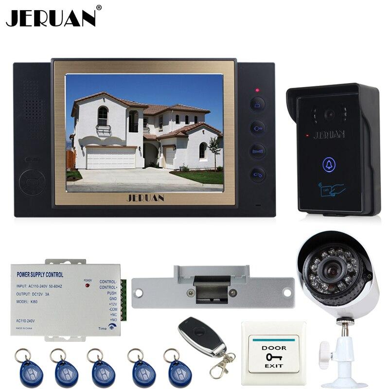 JERUAN 8`` Video Door Phone Record intercom System kit waterproof RFID Access Camera + 700TVL Analog Camera + Cathode lock  2V1