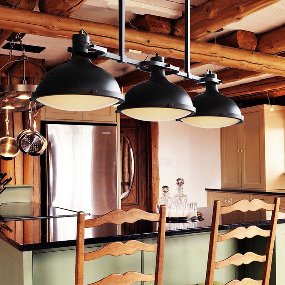Pier 3 Heads Pendant Light Nordic Black Iron Vintage Lamps Hang Painted Hanging Lamp Dining