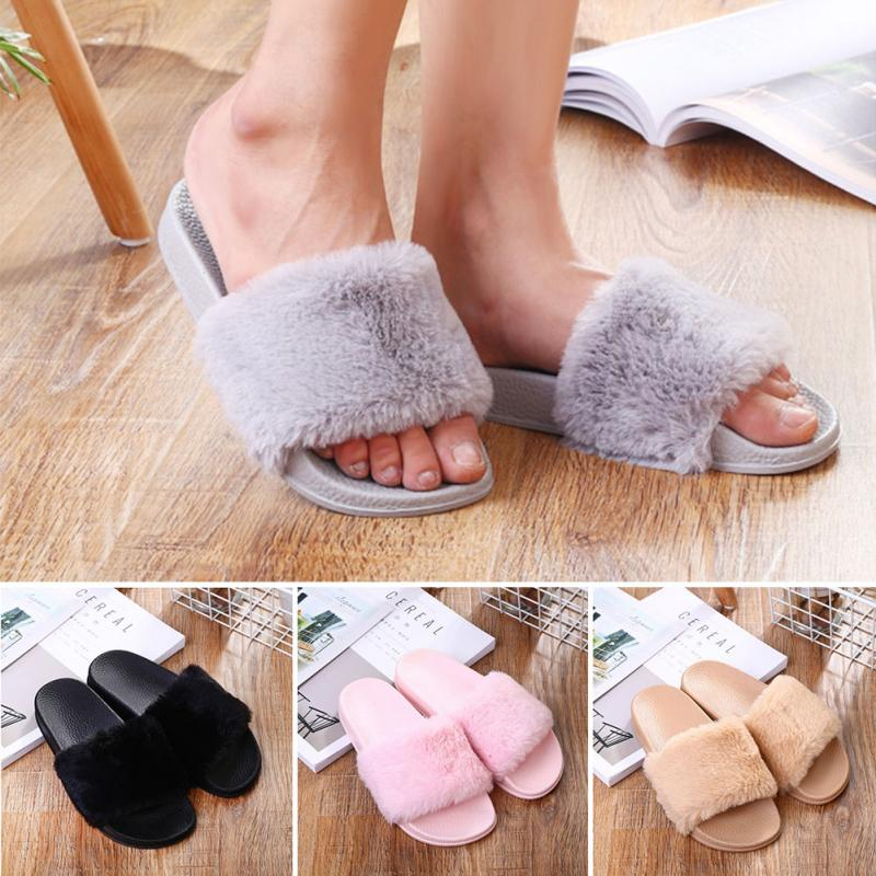 2018 Autumn Winter Women Slippers Flat Plush Shoes Fashion Ladies Flip Flops Casual Fluffy Faux Fur Plush Slippers Shoes2018 Autumn Winter Women Slippers Flat Plush Shoes Fashion Ladies Flip Flops Casual Fluffy Faux Fur Plush Slippers Shoes
