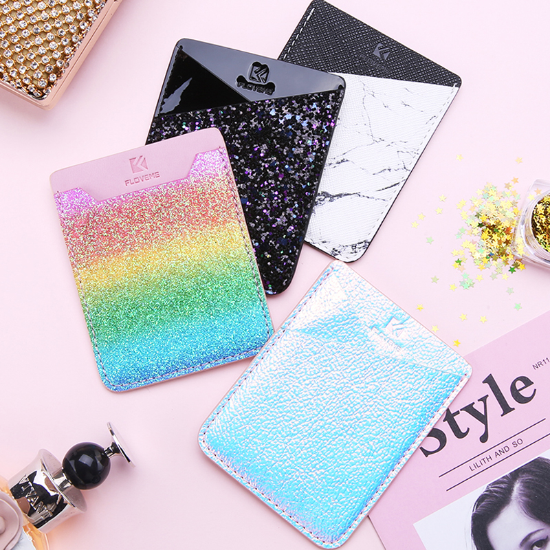 Glitter Card Holder For iPhone 7 8 Plus i X Sticker Phone Wallet Case PU Leather Adhesive Marble Card Pocket For Universal Phone
