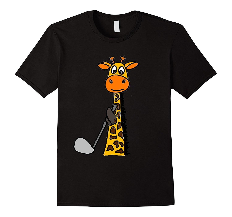 2018 Smile today Funny Giraffe Golfing T-shirt Cool Printed Funny Shirts