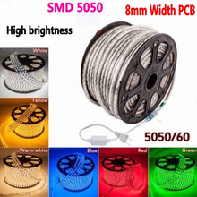 1-10m Outdoor&Indoor LED Lighting Flex LED Neon Light SMD5050 60leds/M LED Rope tube Light Waterproof IP68 220V power plug
