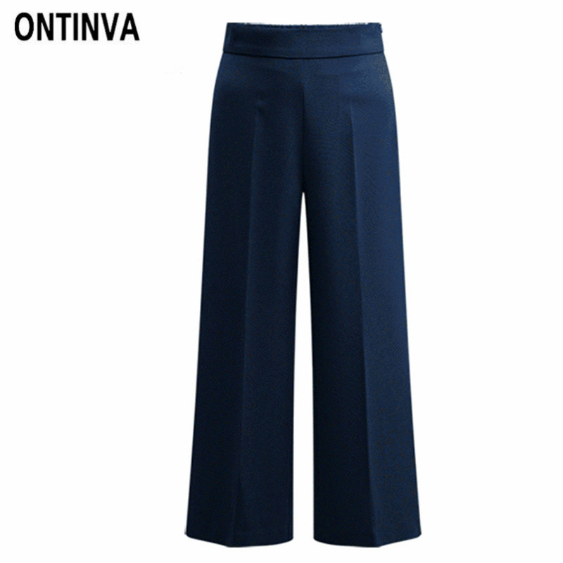 48535e96f7951f 2019 Women Palazzo Pants Plus Size Elastic Waist Wide Leg Trousers Office  Lady Elegant Summer Fashion