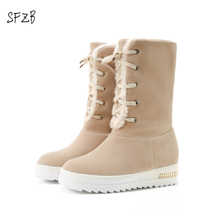 SFZB Increasing Height Platform Ankle Boots Designer Fur Warm Winter Boots 2018 New pu Leather Women Shoes