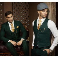 Men's Suit Set Dark green lapel custom groom formal occasions ball Prom The best men's wedding suit (jacket + pants + vest)