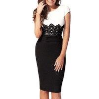 Ukraine Women Sexy Summer Formal Office Business Dress Suit With Lace Vestidos Retro Black Elegant Workwear