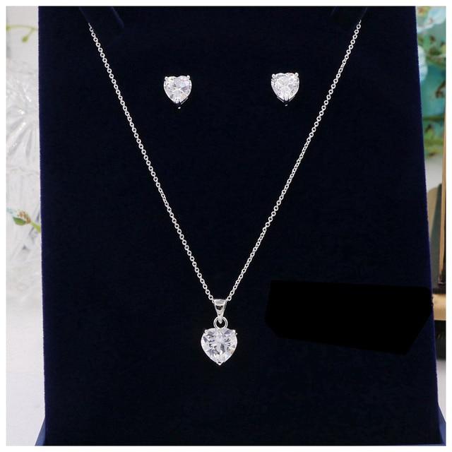 New Women Zircon Necklace Earrings Set Aaa Cubic Zirconia Heart Cut Cz Stone Pendant