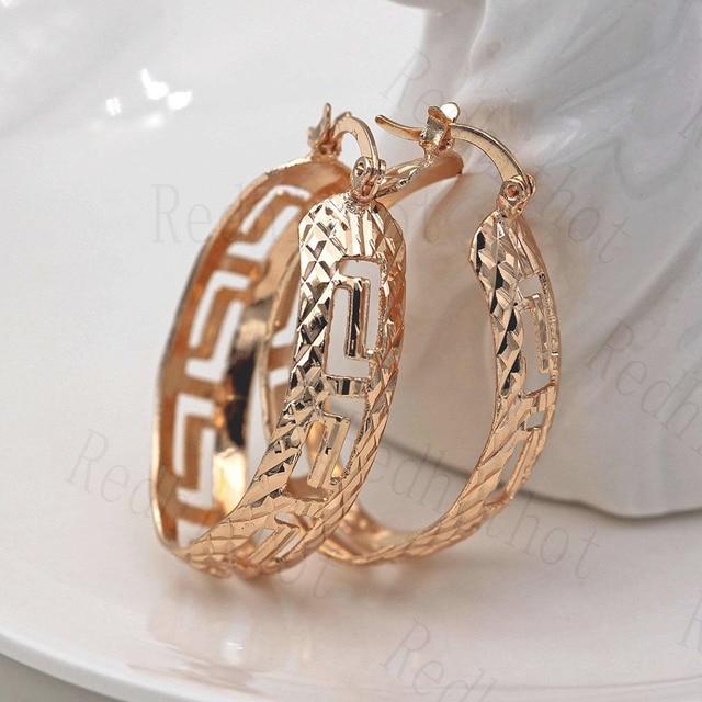 Trendy aushöhlen Hoop Ohrringe für Frauen Gold Gefüllt Geometrie Konkaven und Konvexen Frauen Pageant Ohrringe Modeschmuck