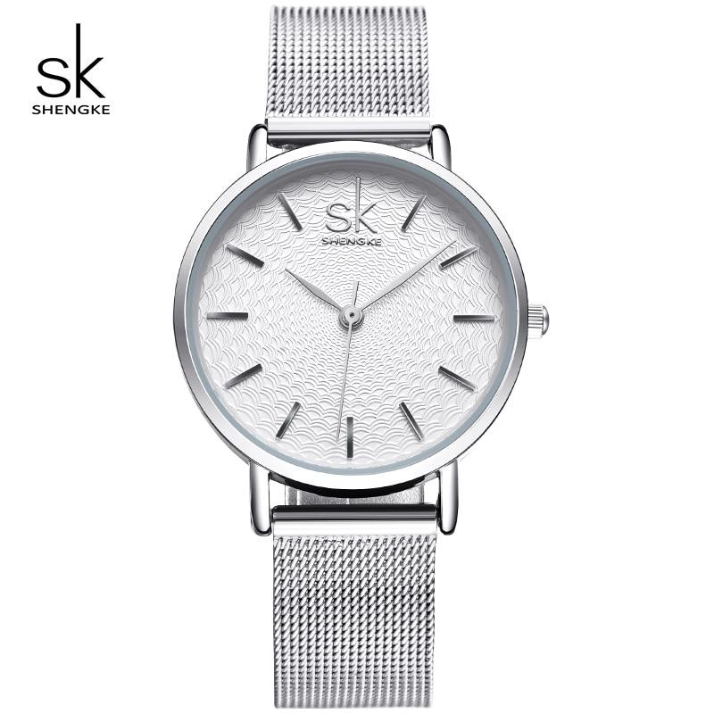 Shengke Zegarki Kobiety Srebrny Luksusowe Zegarki Ze Stali Nierdzewnej Reloj Mujer 2019 SK Walentynki Prezent Zegarki Dla Kobiet # K0006
