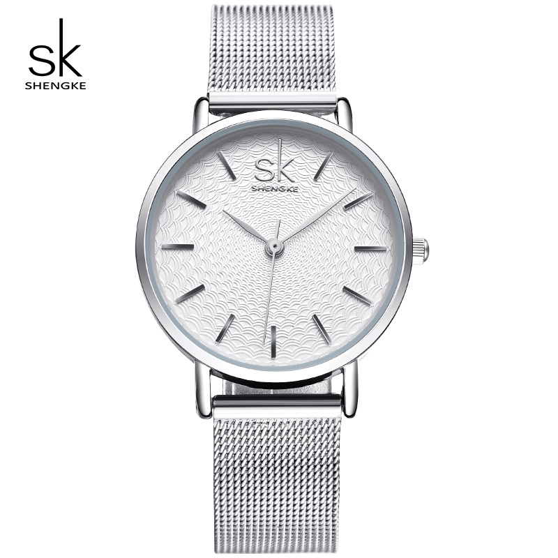 Shengke kellad Naiste hõbedane luksuslik roostevabast terasest kellad Reloj Mujer 2019 SK Valentine's Day kingitus kelladele naistele # K0006