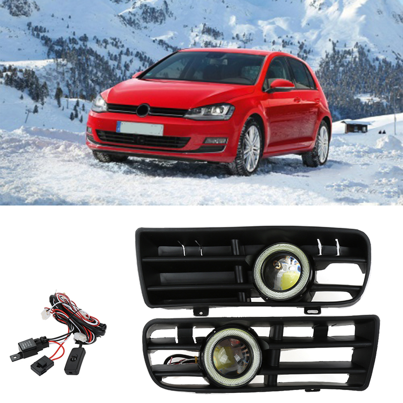 Hot Selling 2Pcs Car Front Bumper Grill LED Fog Light Lamp with Wires White Lens For 1998-2004 Volkswagen GOLF4 Left and Right runmade for 2010 vw transporter t6 t5 before facelift lower bumper grill fog cover fog light lamp set left