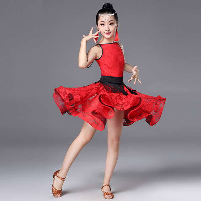 1b9defb49 Latin Dance Dress Summer Profession Child Kids Competition Salsa Tango  Dress Ballroom Dancing Practice Wear Stage Dancewear