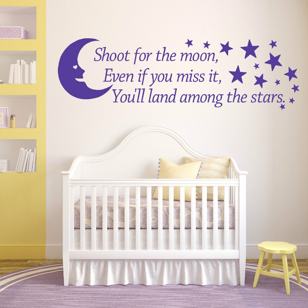 SHOOT FOR THE MOON Wall Art Vinyl Sticker room quote bedroom nursery decal