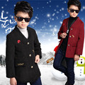 Children's Boy Wool Outerwear Clothes New Arrival Winter Boy  Add Thick Thread Red Black Single-Breasted Woollen Coat Clothing