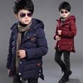2016 novas crianças meninos de roupas de inverno meninos jaqueta de algodão grandes virgem grossa jaqueta acolchoada e seções longas crianças