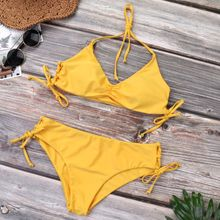 Women Sexy Two Piece Bikini Set Halter Deep V-Neck Ruched Pleated Bra Solid Yellow Color Mid Waist Bowknot Side Tie Criss Cross geometric tie side bikini set