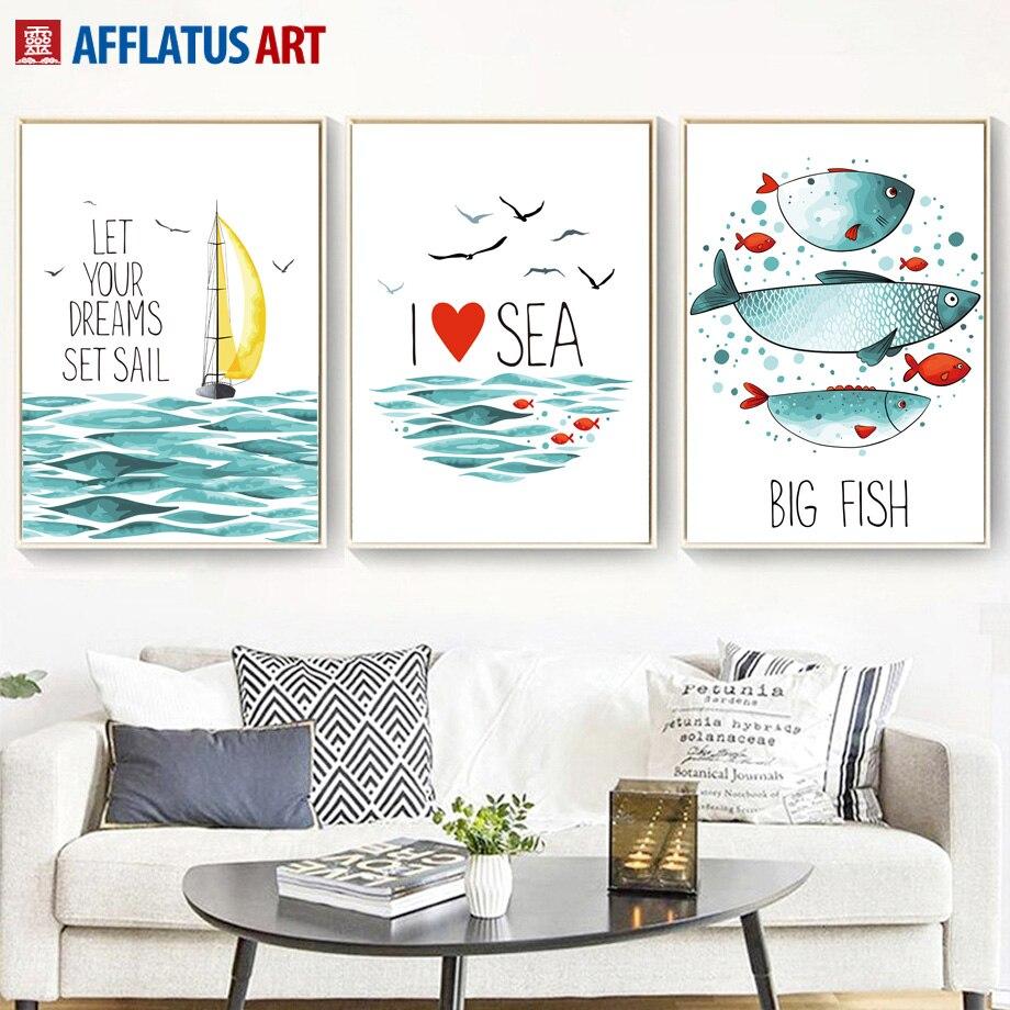 수채화 물고기 세일링 바다 풍경 북유럽 포스터와 지문 벽 아트 캔버스 거실 벽 장식 그림 벽화