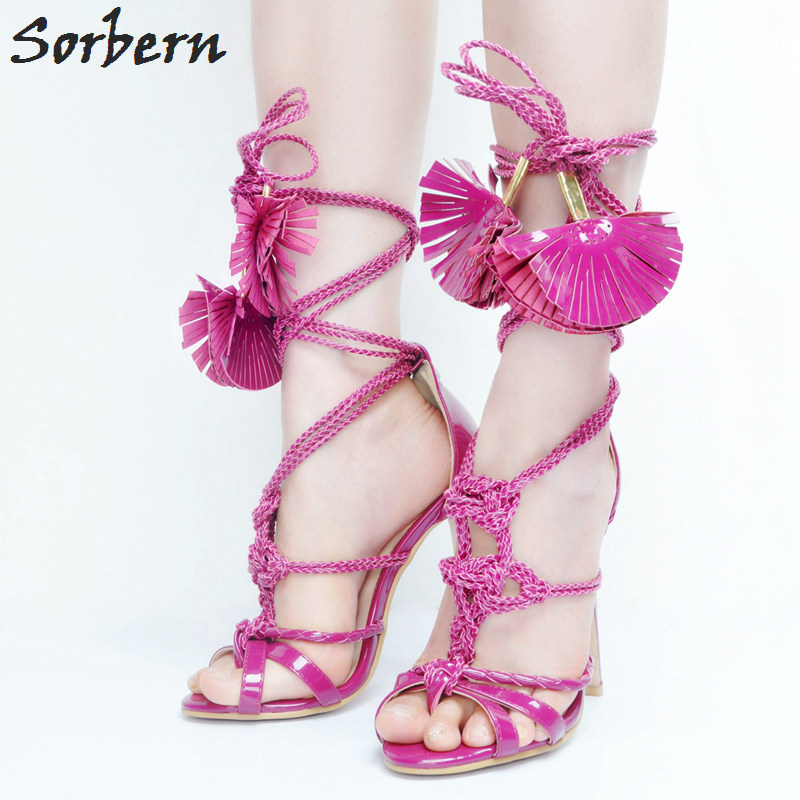 Sorbern Lace Up Women Sandals High Heels Plus Size Sandales Femmes 2017 Women Summer Sandals Fashion Ladies Party Shoes real image blue womens sandals cheap modest slip on new arrive hot ladies evening shoes custom made sandales femmes sexy