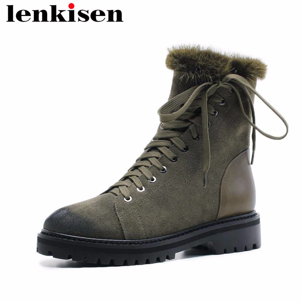 Lenkisen round toe low heels plus size zipper winter snow boots mink fur natural leather winter keep warm women ankle boots L92 2018 new arrival genuine leather zipper runway autumn winter boots round toe high heels keep warm elegant women ankle boots l29