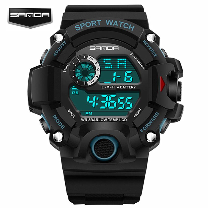 Prix pour Sanda Sport Montre Hommes Marque Mode Casual Numérique-montre Étanche LED Choc Des Hommes Montres Relogio Masculino Horloge