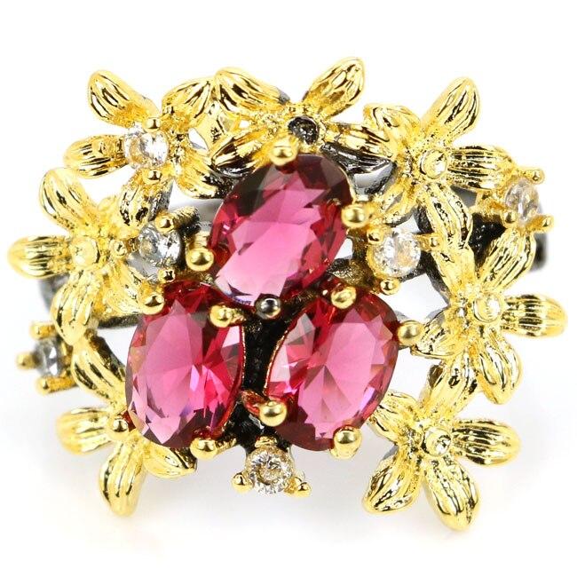 8.5# Vintage Style Pink Raspberry Rhodolite Garnet Womans Black Gold 925 Silver Ring 23x20mm