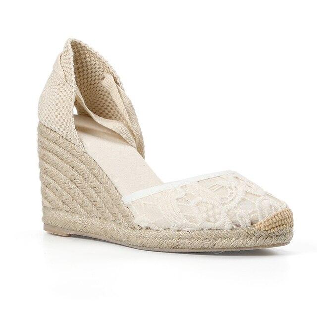 Tienda Soludos Cap Toe sandały na koturnie z wysokim obcasem dla kobiet, klasyczne miękkie kostki sznurowane espadryle buty kostki pasek na co dzień
