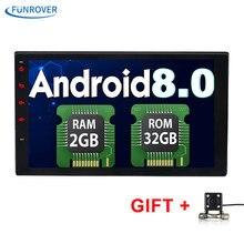 FUNROVER 2 Din 7 дюймов в тире Автомобильный dvd Радио bluetooth gps-навигация для Android 8,0 2 г + 32 г Радио Видео Wi-Fi RDS