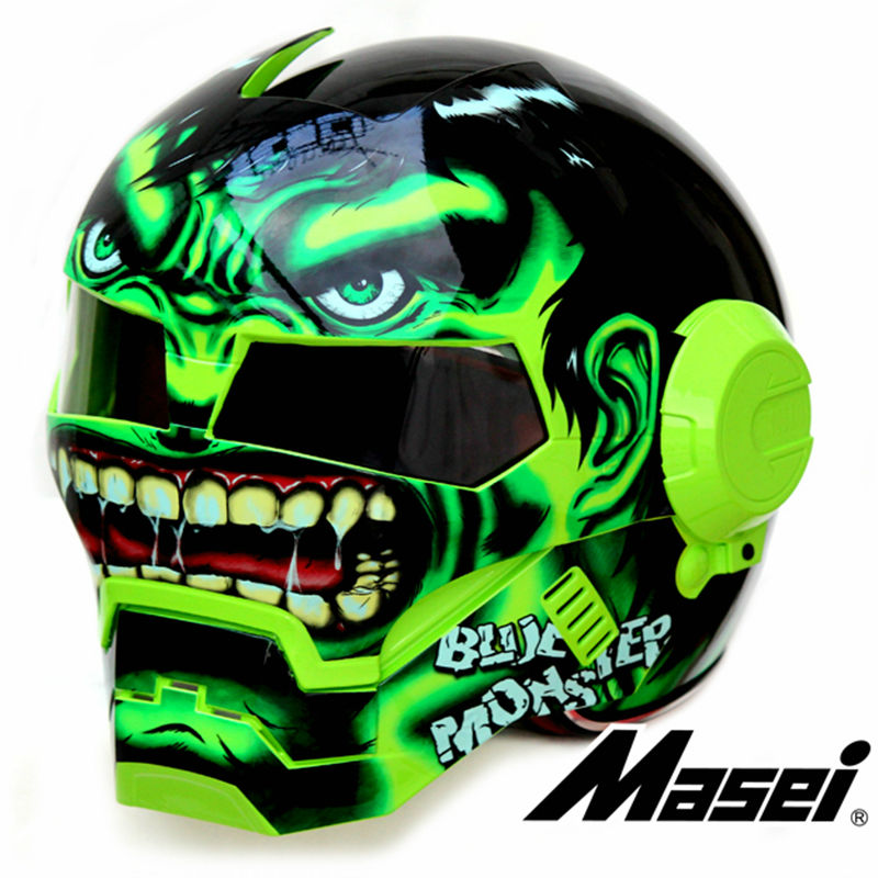 2016 Green Giant Hulk MASEI 610 motorcycle helmet IRONMAN Iron Man helmet half helmet open face helmet casque motocross недорого