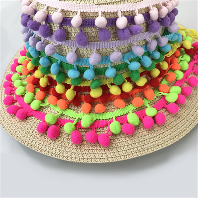 Hot Sale 20Yards/Lot 10Colors 10MM Pom Pom Trim Ball Fringe Ribbon DIY Sewing Accessory Lace Tassel Sewing Fabric For Home Party