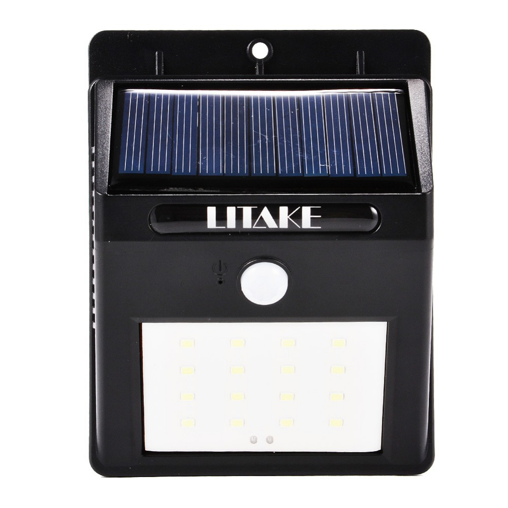 LumiParty IP65 16 LED Security Solar Powered Light PIR Motion Sensor Light Wall Lamp for Path Stairs Garden Outdoor Waterproof