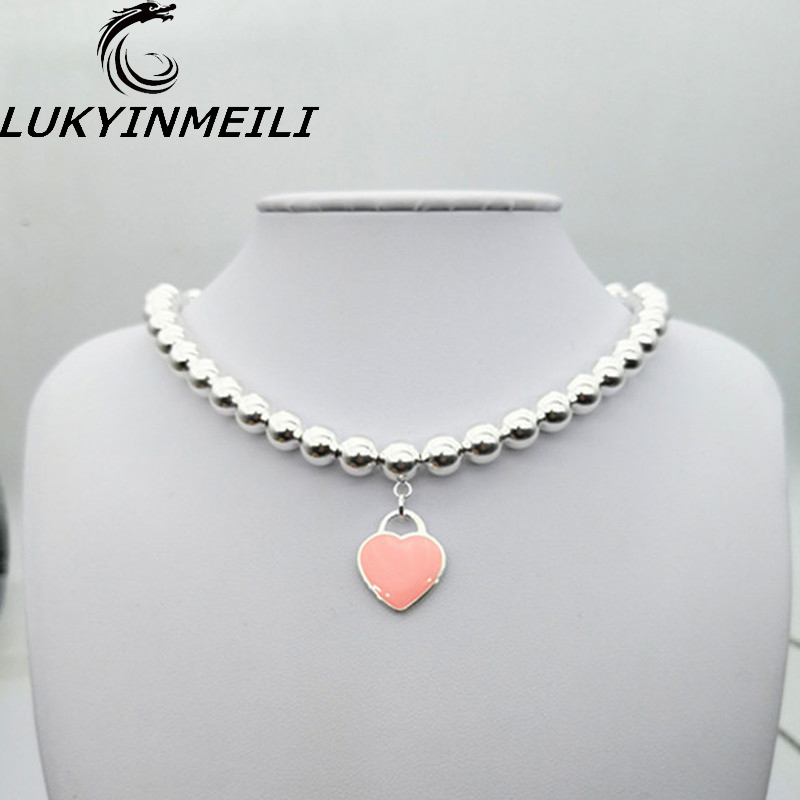 TIFF 1:1 s 925 sterling silver ladies necklace pendant beaded heart-shaped pink enamel pendant fashion trend European styleTIFF 1:1 s 925 sterling silver ladies necklace pendant beaded heart-shaped pink enamel pendant fashion trend European style