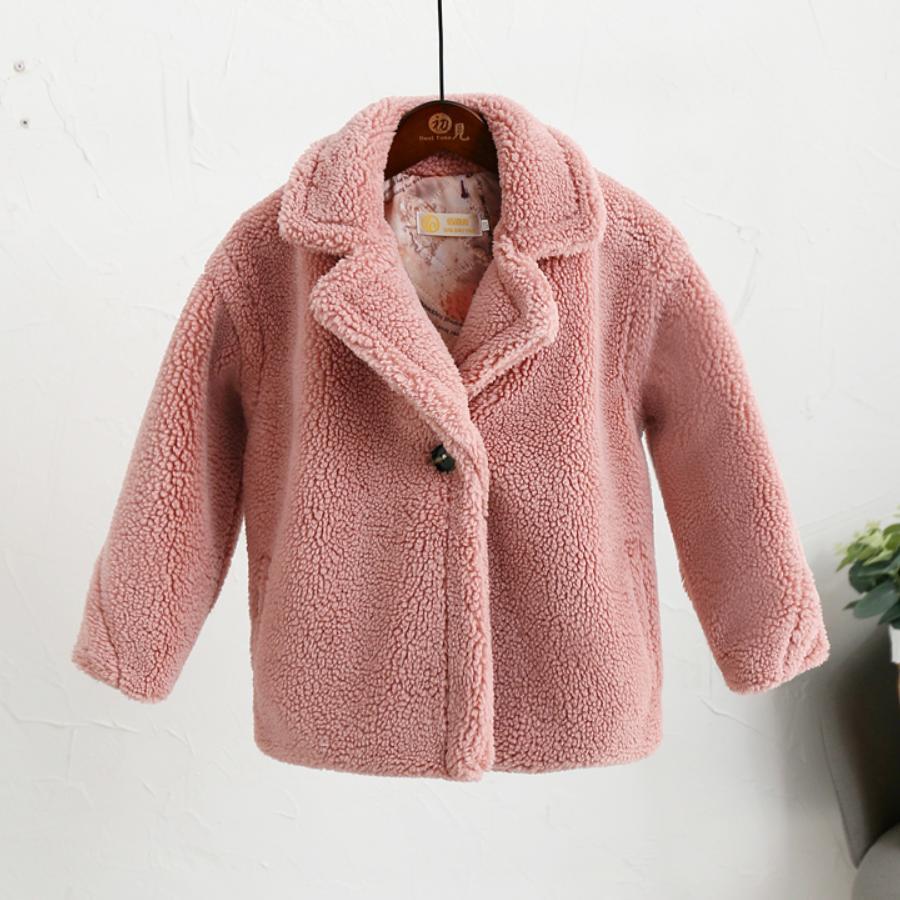 4 9 Year Children s Faux Fur Coat Baby Teddy Bear Thicken Warm Jacket Girls Long