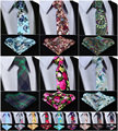 """Floral 2.75 """" 100% algodão homens impresso magro estreito magro gravata gravata lenço de bolso praça Set # I8"""