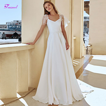 Fsuzwel V-Neck A-Line Wedding Dress 2019 Cap Sleeve