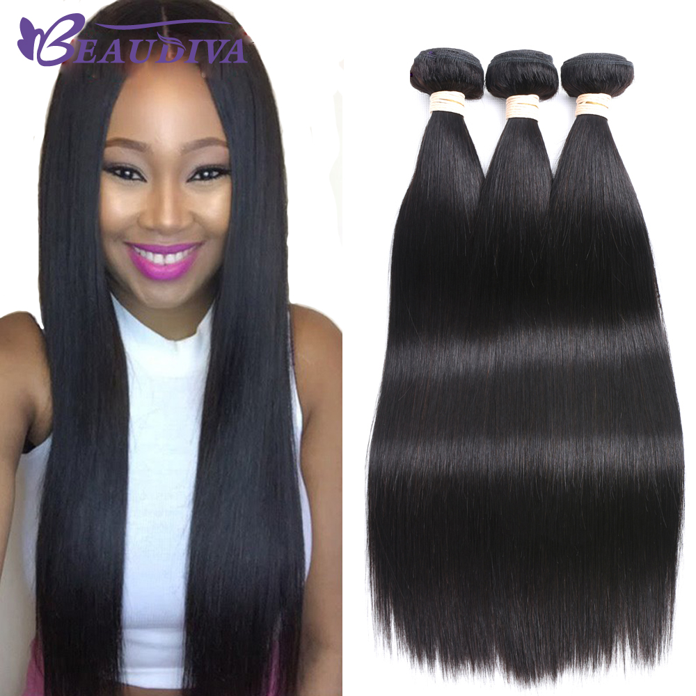Beaudiva Brazilian Straight Human Hair Bundles 3 Pieces 8A Human Hair Extensions Non Remy Brazilian Hair Weave Bundles 8-26 ...