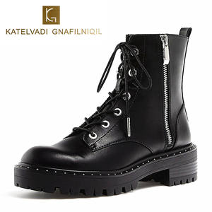 f05a106ff148 Brand Motorcycle Boots Women PU Leather Black Ankle Boots Woman Heels Lace  Up Snow Shoes Round Toe Ladies Boots For Winter K-175