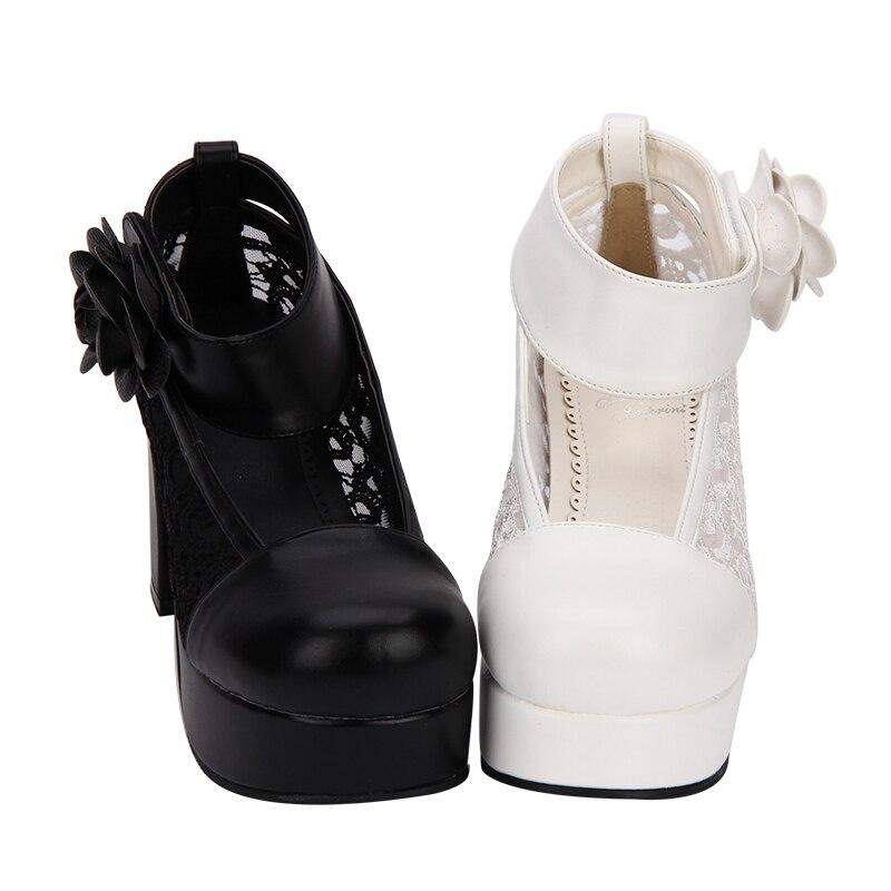 Lady Princesse Robe Chaussures Empreinte Dentelle Fleur Cosplay Femme Partie Mori Fille 33 Noir Haute 47 Talons Angélique Lolita Femmes blanc Pompes 0O7xw7n