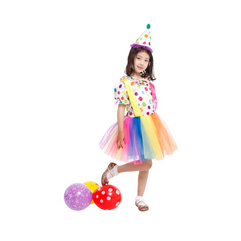 Child Kids Rainbow Big Top Fun Clown Costume For Girls Fancy Tutu Dress Halloween Purim Carnival Party Costumes