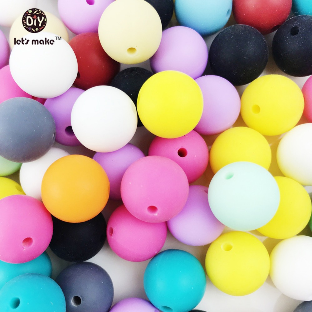 Let's Make 500pc Silicone Beads 15mm Round BPA FREE Loose Teething Chew Beads Jewelry Teether Necklace Teether Toy DIY Teether