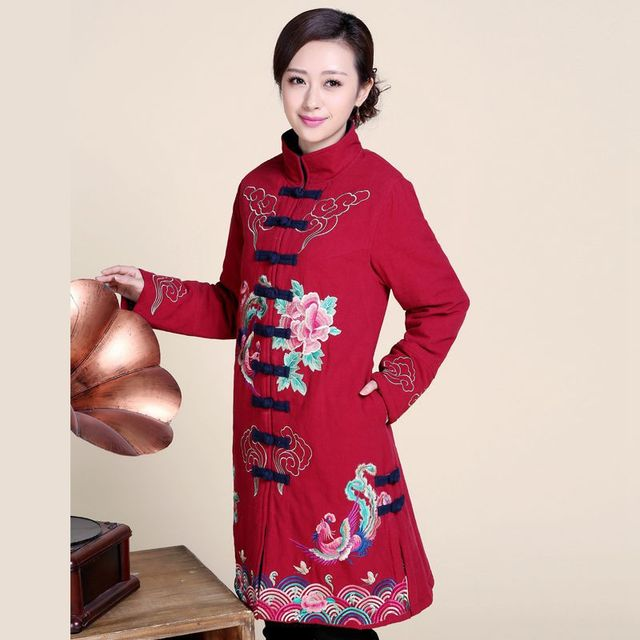 Winter New Cotton and Linen Clothing Large Yards Mother Loaded Chinese National Wind Long Paragraph Embroidery Retro Coat