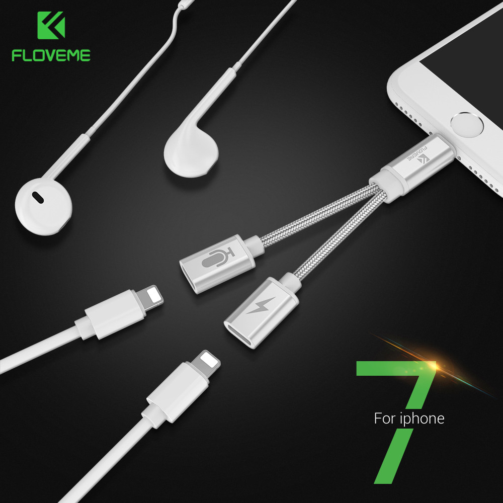 FLOVEME Audio Converter For iPhone 7 8 Plus X 2 in 1 Splitter Headphone Jack Adapter Aux Cable USB Earphone Charging Connector