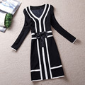 2016 de lujo de la marca cc Vestido femininos Vestido de Fiesta de invierno diseñador de las mujeres de lana bowknot elegante bodycon negocios vestido más el tamaño