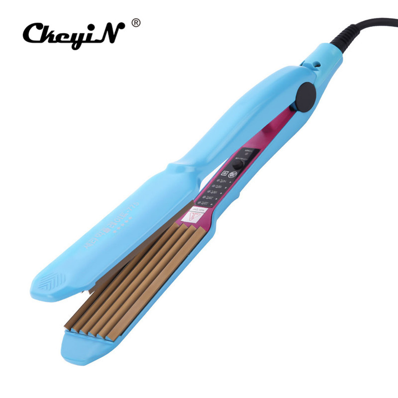 CkeyiN Electric Hair Corrugated Curling Iron Hair Crimper Flat Iron Straightening Hair Straightener Curler Wave Curl Corrugated ckeyin 110 240v electric straightening iron ceramic corrugated hair crimper straightener corn plate fast straight hair flat iron