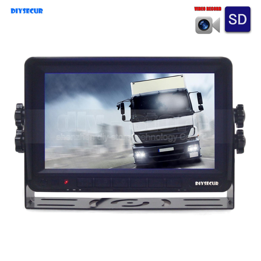 DIYSECUR AHD 7inch TFT LCD Car Monitor Rear View Monitor Support 1300000 Pixels AHD Camera with Video Recording Founction