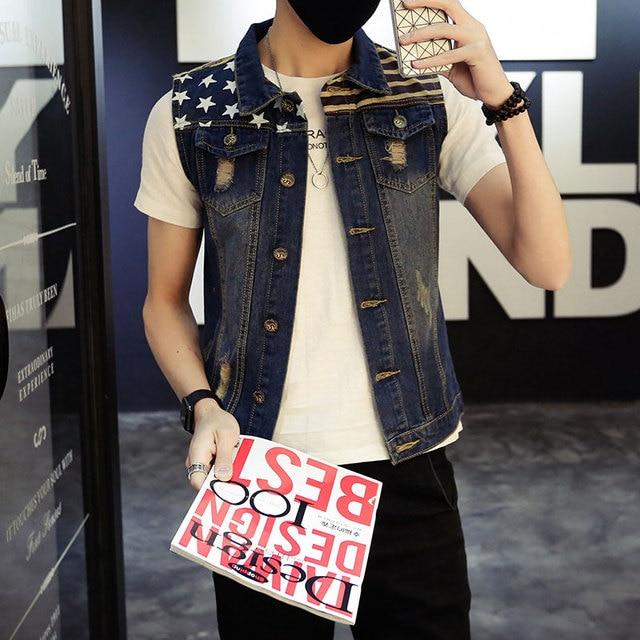 2016 New Men's Denim Vest Brand USA Flag Print Jeans Vest Men Cowboy Vest Denim Sleeveless Jacket Free Shipping Asian Size M-3XL