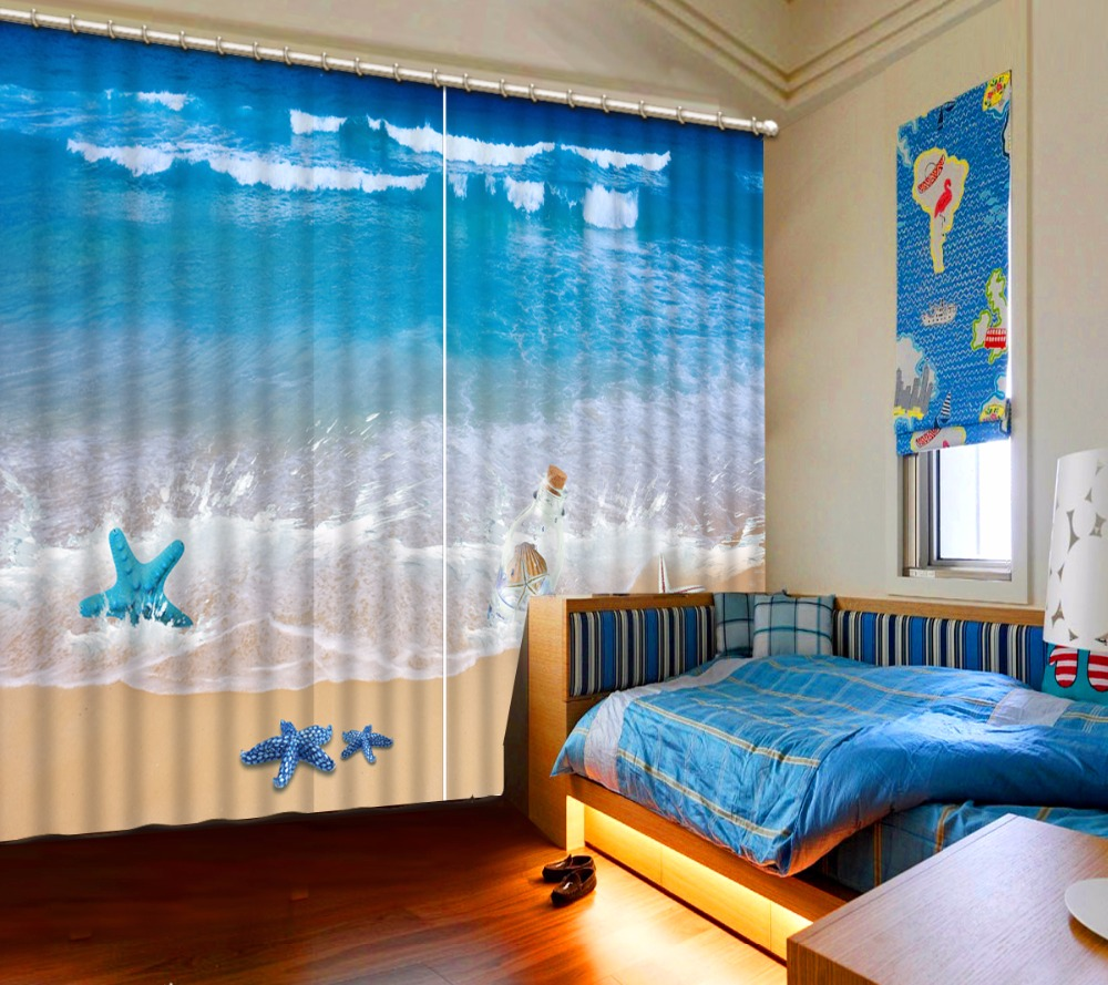 Cool Home Textile Window Curtains For Living Room Beach Shell Sheer Modern Printing Curtain Kitchen In From Garden On