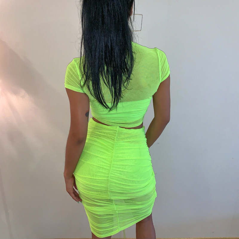 Cryptographic Neon Fashion Ruched Sexy Two Piece Women Outfit Mesh Sheer Matching Set Sexy Drawstring Crop Tops High Waist Skirt in Women 39 s Sets from Women 39 s Clothing