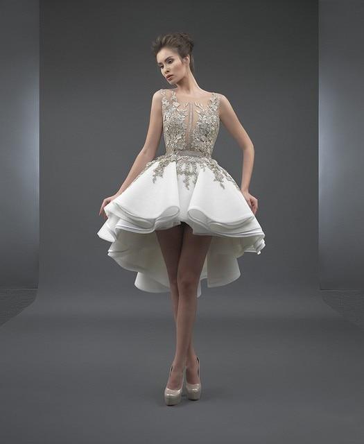 לבן אלגנטי קוקטייל שמלות אונליין סקופ קצר קדמי ארוך בחזרה אפליקציות תחרה מסיבת בתוספת גודל שיבה הביתה שמלות