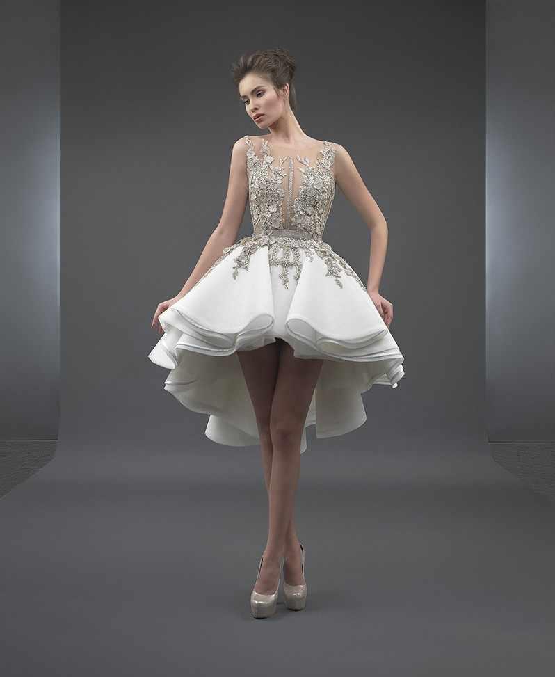 a696363db4d1f7a Белый 2019 элегантные коктейльные платья а-силуэта совок короткий передний  длинный задний Аппликации Кружева вечерние