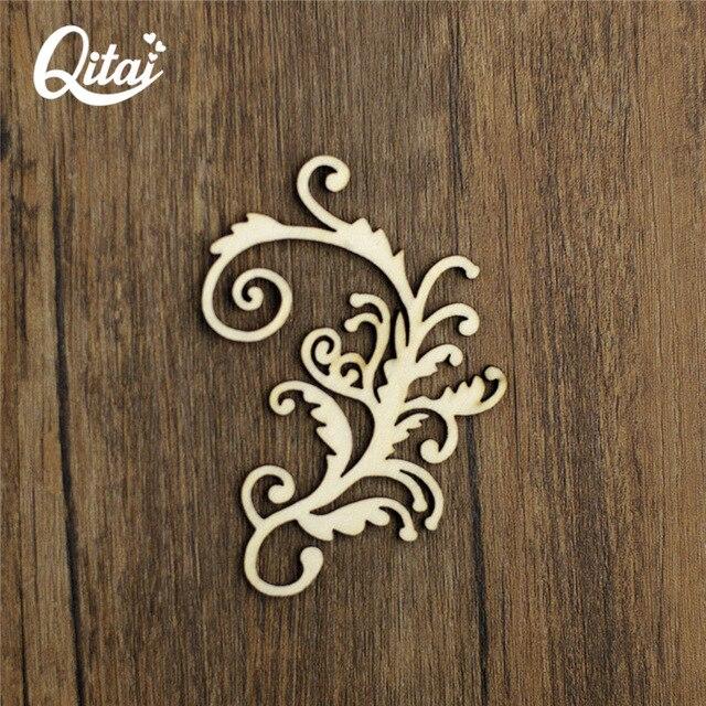 Top QITAI 15 Pcs/Box Laser Cut Wooden Shape Flourish Classical Wooden @AY84
